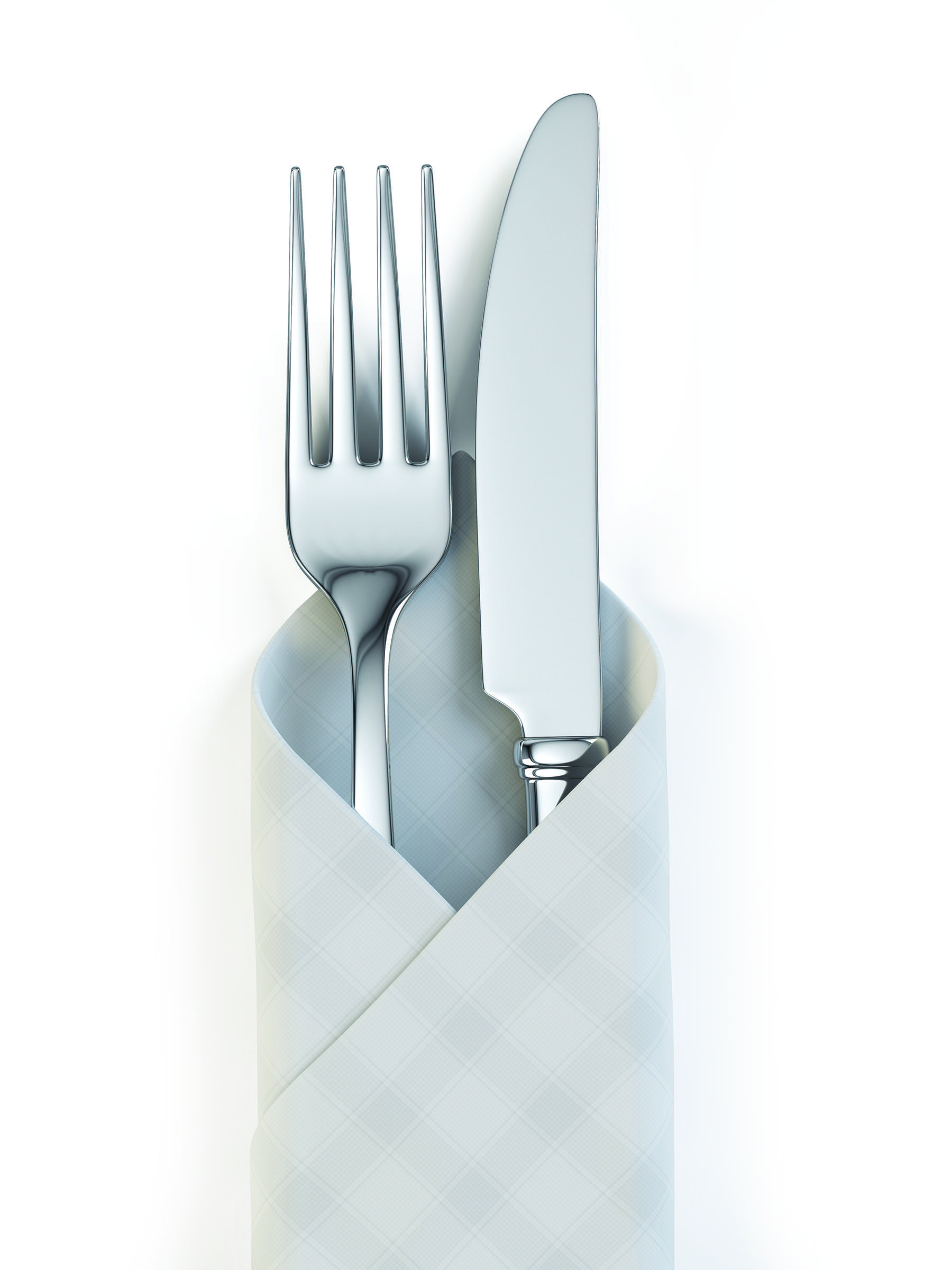 Fork and knife isolated on white background