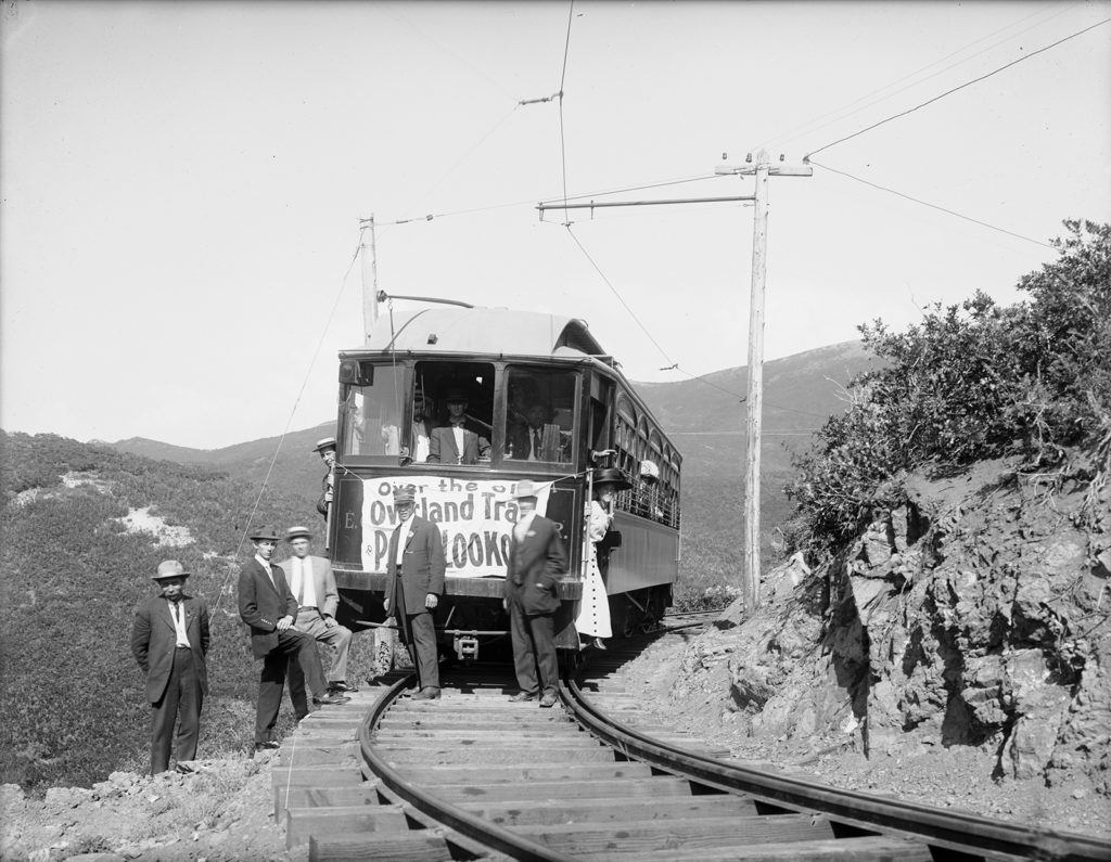 A train car going up Emigration Canyon, 1909