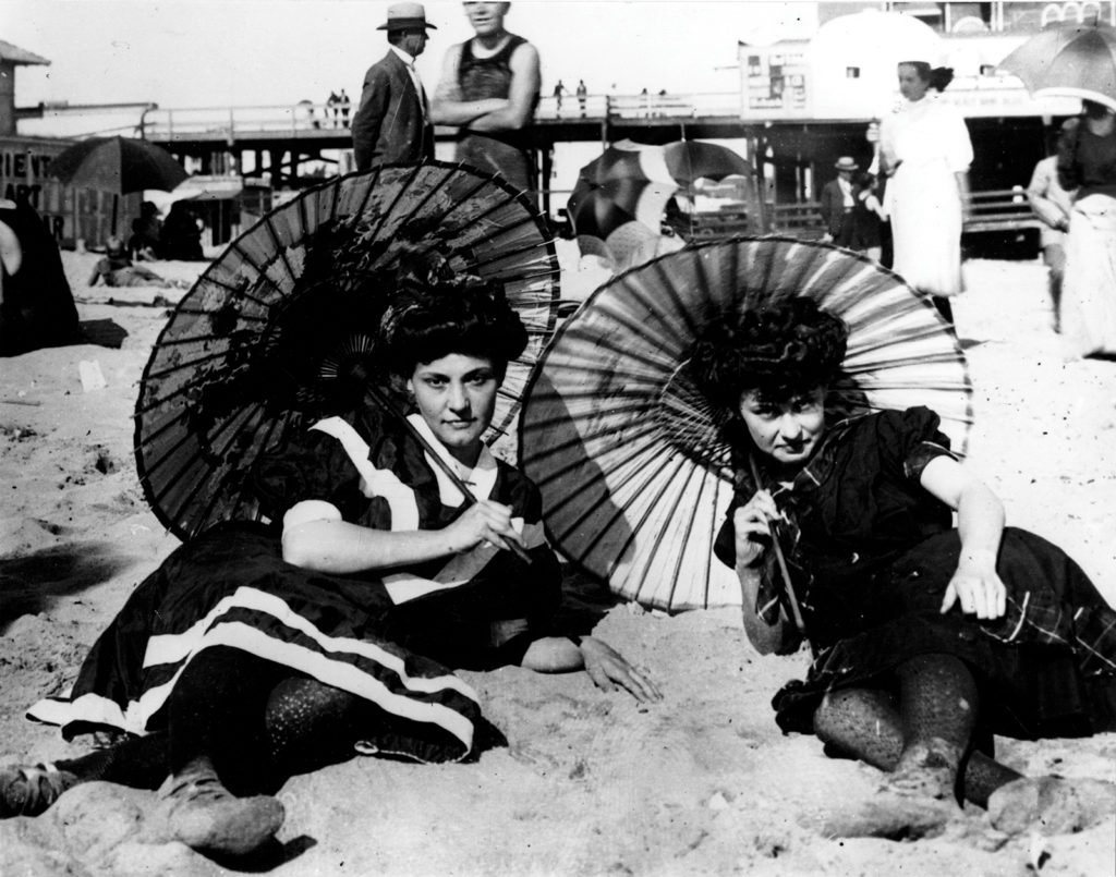 Women relax at what is believed to be Saltair Beach, date unknown