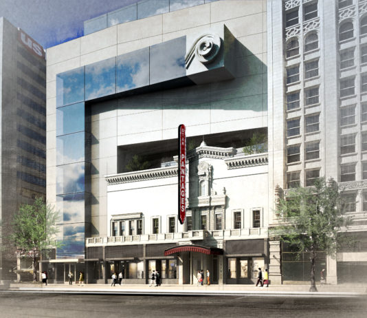 Save the Utah Pantages' vision for a restored Utah Theater. Rendering by Bowen Studios.